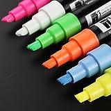 Fancy-fix 5mm Chisel Tip Liquid Chalk Marker Pen Pack of 6 Colors