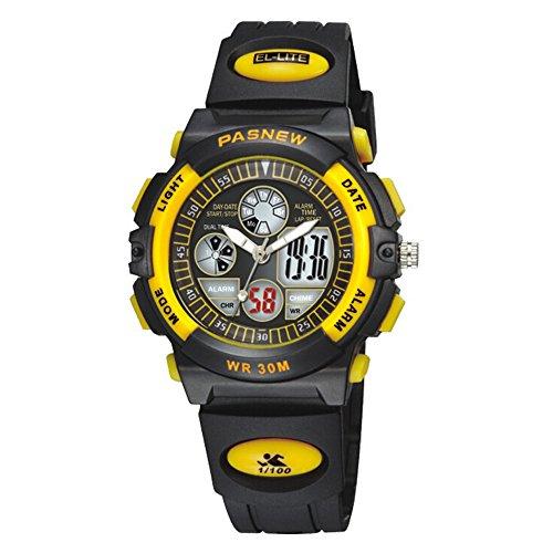 R-timer Pasnew 30m wasserdichte Digital-Analog-Jungen-Mädchen-Sport Digitaluhr mit Alarm Stoppuhr Chronograph (Kind) 6 Farben (gelb)