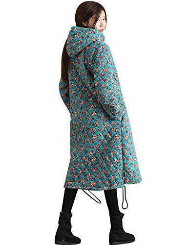 Con Algodón De Otoño Mujeres Lino Florales Espesar Abrigos Capucha Azul Invierno Youlee ASzwcOqpq
