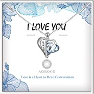 """Sterling Silver""""I Love You Forever"""" Heart Pendant Necklace with Blue Swarovsk"""