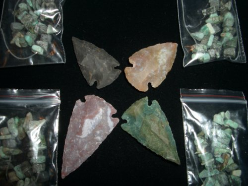 Indian Arrowhead Gemstone Focal Necklace Pendant Bead & Natural Turquoise Beads Jewelry Lot ()