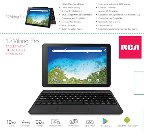 "2019 RCA Viking Pro 10.1"" Touchscreen 2-in-1 Tablet Laptop, Quad-Core Processor, 1GB RAM, 32GB SSD, WiFi, HDMI, Detachable Keyboard, Android 5.0 OS, Black"