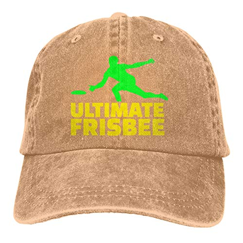 (2 Pack Ultimate Frisbee Word with Player Adjustable Washed Twill Baseball Cap Hat for Adult)
