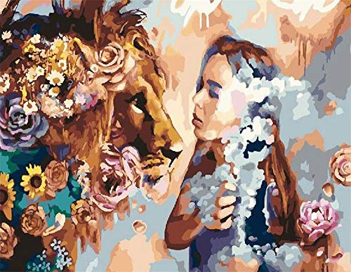Paint by Number Kits - Lady and Lion 16x20 Inch Linen Canvas Paintworks - Digital Oil Painting Canvas Kits for Adults Children Kids Decorations Gifts (No Frame)