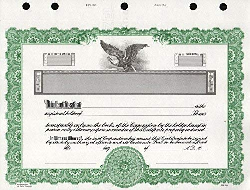 Certificate Border Templates - KG 2 Stock Certificate, Green Border, Pack of 15
