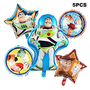 5 Pack Toy Story Balloon Party Supplies 30″ Foil Balloons for Kids Baby Shower Birthday Party Decorations