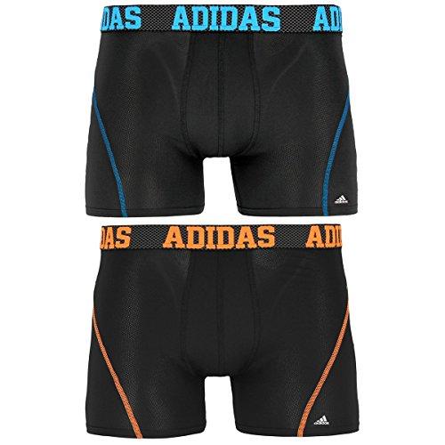 adidas Men's Sport Performance Climacool Trunk Underwear , Black/Solar Blue/Solar Orange, X-Large