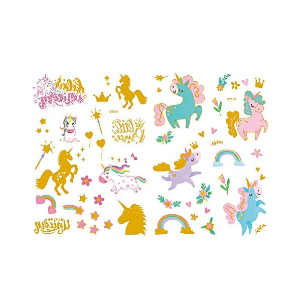 Children's Toys Creative Stickers Tattoos Bronzing Cartoon Children's Tattoo Designs of Antelope Unicorn Temporary Tattoo Stickers for Kid's Finger Face Tattoo 8
