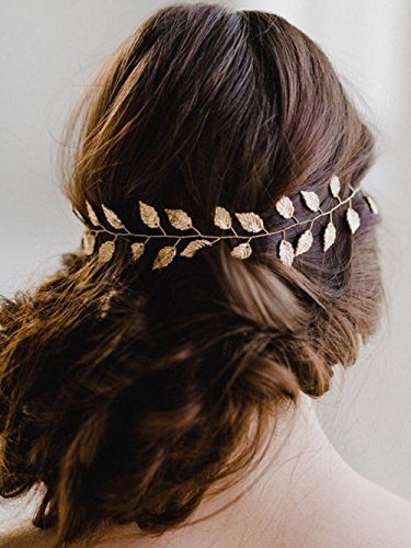 (Yean Wedding Headband, Gold Leaf Bridal Headpieces for Bridesmaid and Flowergirls (15.7 Inches))