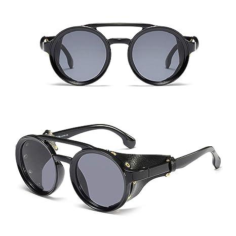 Qiman - Gafas de sol redondas, estilo punk, vintage, retro ...