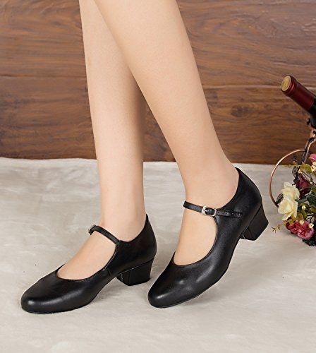 Chunky Ladies Mary Black Latin Wedding Dance Ballroom TH168 Taogo UK Jane MINITOO Pumps 3 Heel Leather Low EqTdXqfw