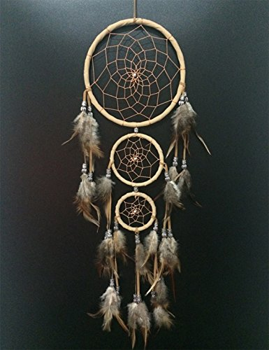 Dream Catcher -the traditional peacock feather color Dreamcatcher ~ 18cm diameter 45cm By SIMON (Beige)