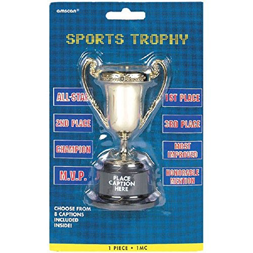 Soccer Goal Birthday Party Customizable Trophy Favour, Plastic, 5