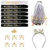 Todyt Bachelorette Sash Set for Bridal Shower with Veil, Tiara, Tattoos, Bride to Be and 6 Bride Tribe Sashes/Hen Party Wedding Decorations