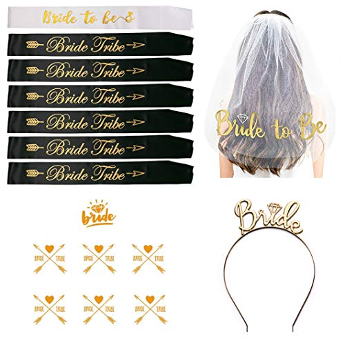 Todyt Bachelorette Sash Set for Bridal Shower with Veil, Tiara, Tattoos, Bride to Be and 6 Bride Tribe Sashes/Hen Party Wedding Decorations by Todyt