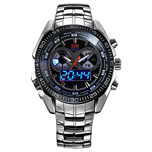 Military Watch Men's Sports Analog Quartz Watch Dual Display Waterproof Digital Watches Men's iital Sports Watch Waterproof Casual Luminous Stopwatch Alarm Army Watch (Black)