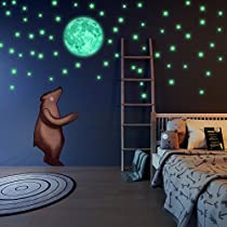 LIDERSTAR - Glow in the Dark Stars and Moon Wall Stickers With Free Affirmation Card – Luminous wall Decals for Ceiling,Kids Bedroom, Playroom,College Room,Space wall decor forBoys or Girls Room.
