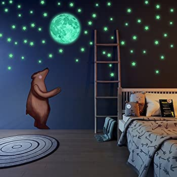 Glow in The Dark Stars and Moon Wall Stickers  Beautiful Wall Decals for  Bedroom. Amazon com  Glow in The Dark Stars and Moon Wall Stickers