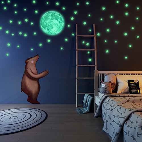 Glow in The Dark Stars and Free Removable Full Moon Wall Stickers 220 adhesive Glowing Star Beautiful Wall Decals for Bedroom. for Room,light your Ceiling, Bonus Affirmation Card for Kids - Card Gift Planet