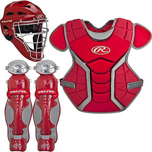 Rawlings Sporting Goods Renegade Series Catcher Set (Ages 12-15), Scarlet/Silver - Rawlings Catchers Gear Set