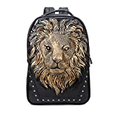 Seamand Personalized 3D Lion Studded PU Leather Casual Laptop Backpack School Bag