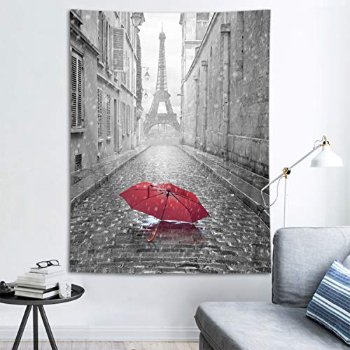 HVEST Eiffel Tower Tapestry Red Umbrella in Paris Street Wall Hanging Black and White Cityscape Tapestries for Bedroom Living Room Dorm Party Decor,60Wx80H inches