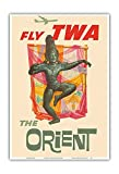 Pacifica Island Art The Orient - Fly TWA (Trans World Airlines) - Bronze-era Siam Thai Dancer - Vintage Airline Travel Poster by David Kleinc.1960 - Master Art Print - 13in x 19in