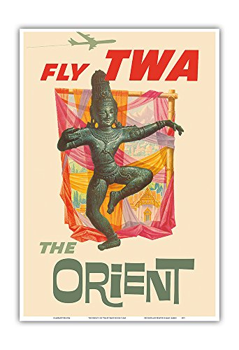 Pacifica Island Art The Orient - Fly TWA (Trans World Airlines) - Bronze-era Siam Thai Dancer - Vintage Airline Travel Poster by David Kleinc.1960 - Master Art Print - 13in x 19in by Pacifica Island Art