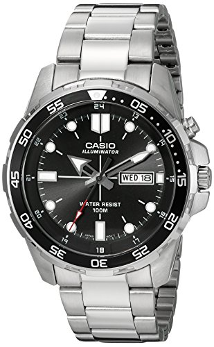 (Casio Men's MTD-1079D-1AVCF Super Illuminator Diver Analog Display Quartz Silver Watch)