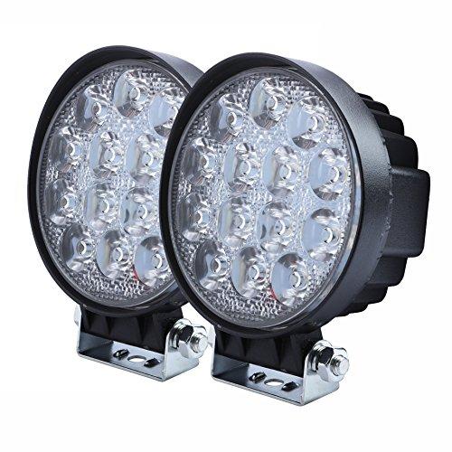 Aellons Spot LED Work Light 2Pcs 42Watt Round High Power Epistar LEDs Off-road Led Fog Lights Driving Lights for SUV ATV etc