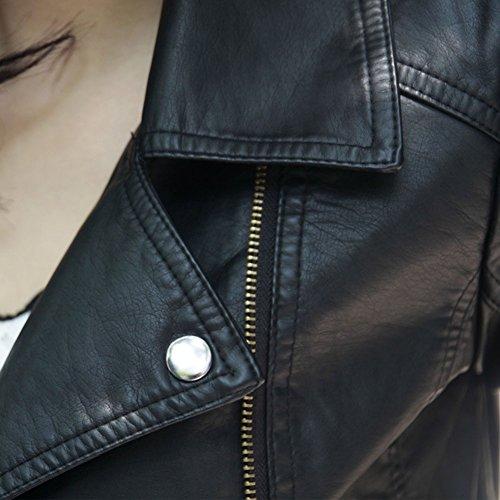 Longues Noir Slim Fermeture Fit Veste Manches Blousons PU Cuir En Manteau Femme Veste Court aq7OzwxS