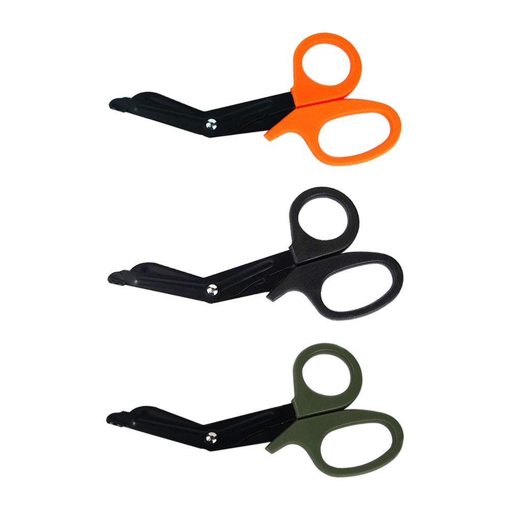 LUCKSTAR EMT Trauma Shears Set of 3 - Stainless Steel Bandage Scissors Fluoride Black Coated Trauma Paramedic EMT Shears Scissors for Surgical/Medical/Nursing (Black&Orange&Green)