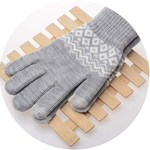 Winter Warm Touch Screen Gloves Kitted Woolen Mittens Cashmere Geometric Crinkle Gloves,Grey
