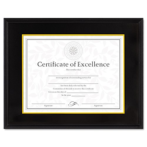 - DAX 1511TB Hardwood Document/Certificate Frame w/Mat, 11 x 14, 8 1/2 x 11, Black