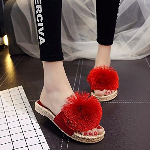 Sandals Red Wool Ball Rope Slip Cute Woven Bottom FORTUN Hemp Slippers Flat Women Non RqwnxHTv