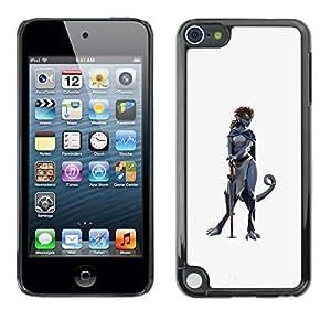 TopCaseStore / la caja del caucho duro de la cubierta de protección de la piel - Woman Character Cat Grey - Apple iPod Touch 5