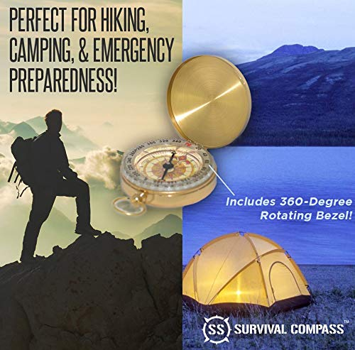 SharpSurvival Best Camping Survival Compass   Glow in The Dark Military Compass Survival Gear Compass