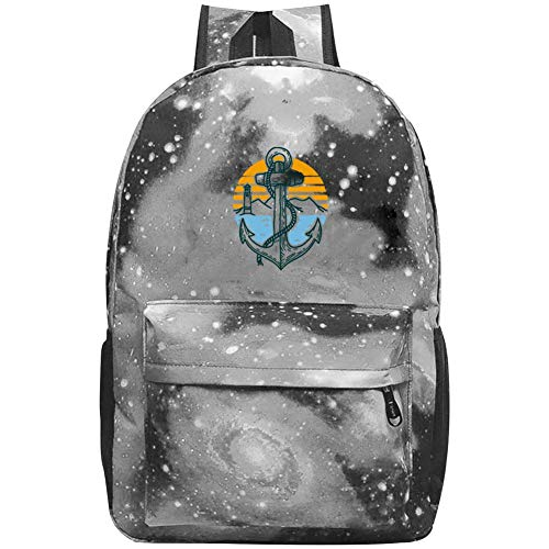 XKSJSB Anchor Point Galaxy Laptop Backpack, Star Water Resistant College Students Travel Computer Notebooks Backpack for Men Women Gray
