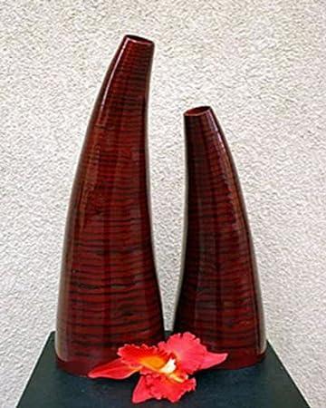 Lawo Bambus Deko Vase Hanoi 50cm Bordeauxn Rot Asiatische Tischvase