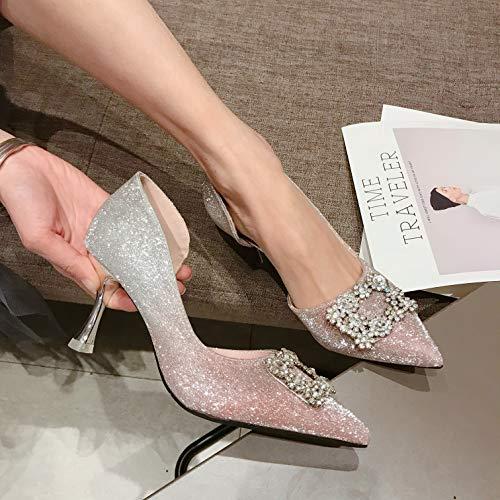 sottili Pink Womenthirty scarpe tacchi New tacchi gradiente sposa scarpe punta Spring Eightpink da alti quadrate diamante Paillettes MLGSDW fibbie EqTxFOw66