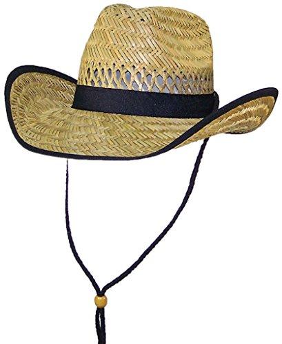 Stone Age Big Kids Natural Straw Cowboy/Cowgirl Hat W/Band (One Size) - Black