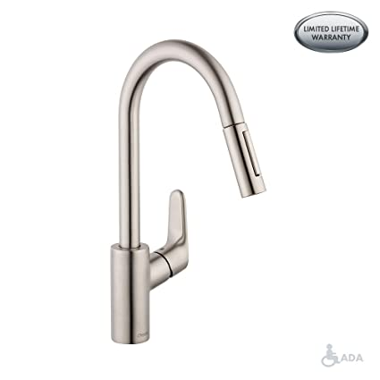 hansgrohe Focus Premium 1-Handle 16-inch Tall Stainless Steel Kitchen  Faucet with Pull Down Sprayer Magnetic Docking Spray Head in Steel Optic,  ...