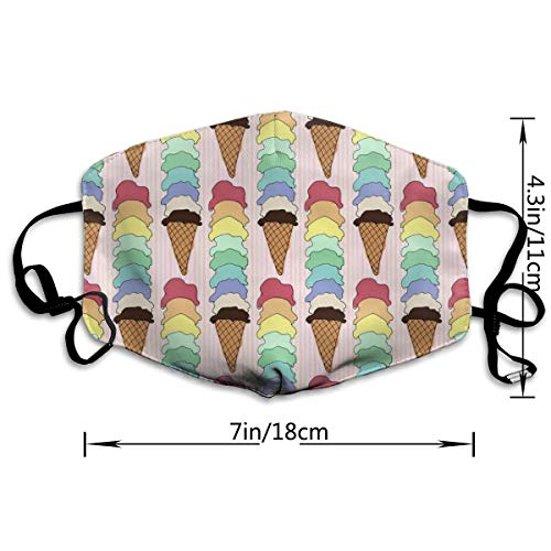 Mouth Mask Rainbow Ice Cream Cone Unisex Breathable Face Mask Anti-dust Mask with Elastic Ear Loop