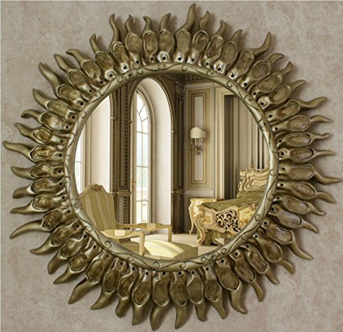 European-Style Wall Hanging Retro Golden Sun Restaurant Bar Hotel Entrance Porch Backdrop Decoration Bathroom Makeup Mirror Pure Handmade Craft Frame 65cm Mirror ()