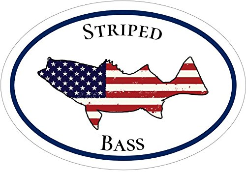 Striped-BASS-AMERICAN-FLAG-Silhouette-OVAL-Fishing-Vinyl-Decal-Sticker-Great-for-Truck-Car-Bumper-or-Tumbler-Perfect-Husband-Fisherman-Ocean-Fishing-Outdoorsman-Patriotic-Gift-Made-in-the-USA