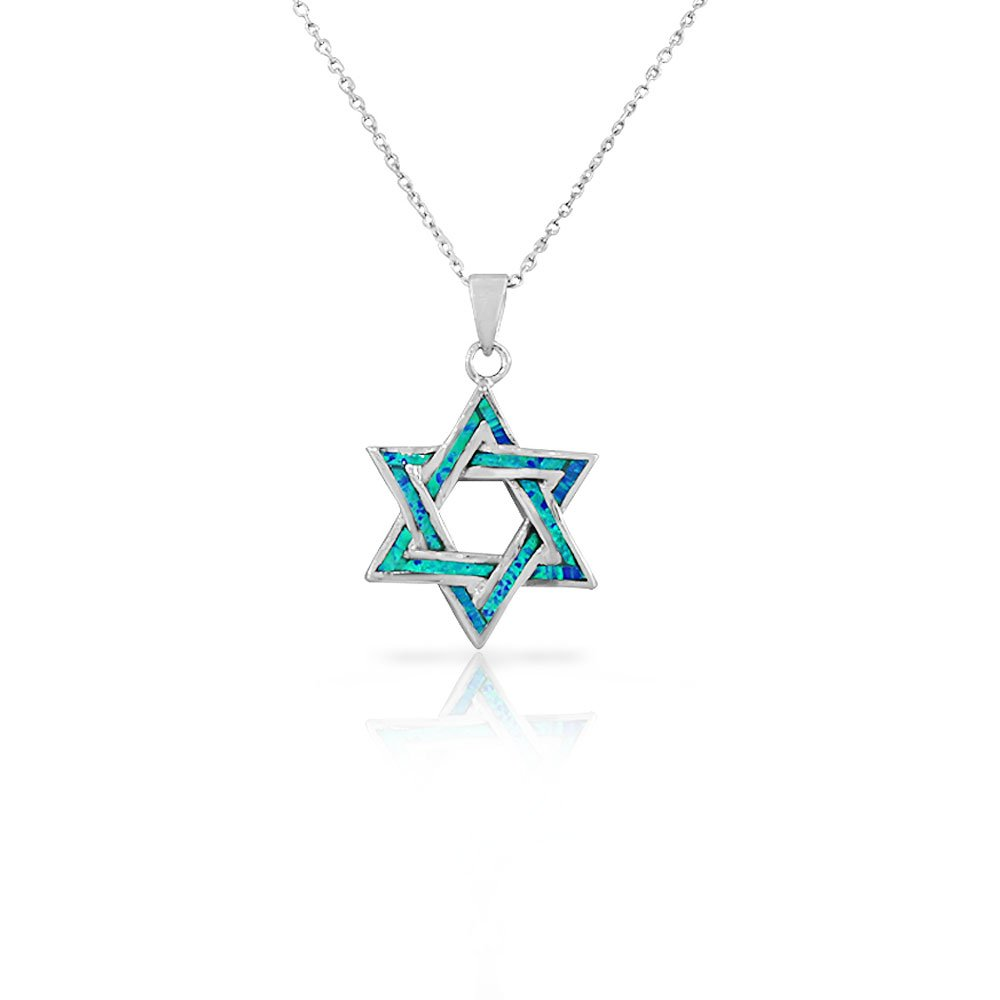 925 Sterling Silver Womens Jewish Star of David Blue Simulated Opal Turquoise-Tone Pendant Necklace