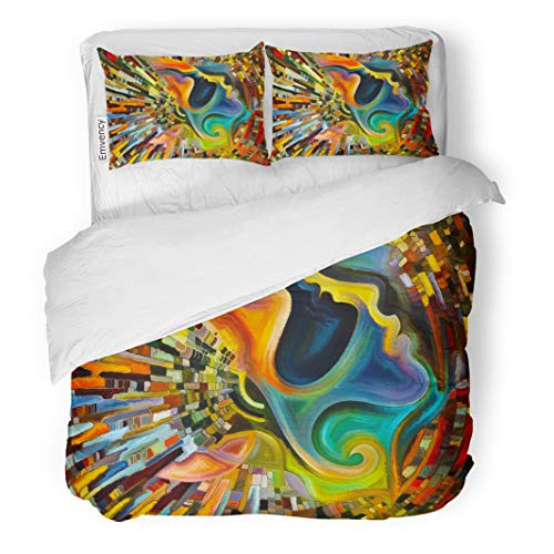 Semtomn Decor Duvet Cover Set Twin Size Colors of The Mind Series Creative Arrangement Human Face and Colorful Abstract 3 Piece Brushed Microfiber Fabric Print Bedding Set Cover