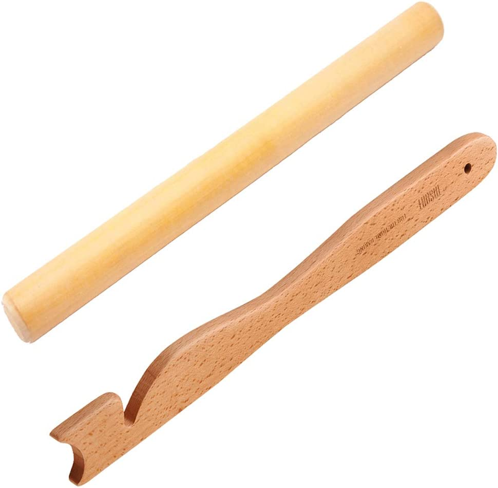 【Rolling Pin】 for Baking, Wood Dough Roller and Dough Sheeter Classic for Pie Weights + Kitchen Utensils & Gadgets 【Oven Rack Push Puller】, Oven Rack Pusher Pull for Grilling.