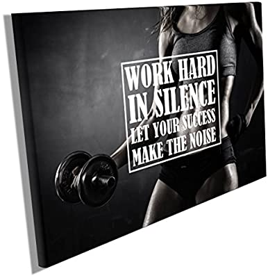 Fitness Motivation Posters Inspiration Quotes on Canvas Wall Hangings Decals Workout Bodybuilding Poster Wood Framed Waterproof size 12x18 inches CGmO59