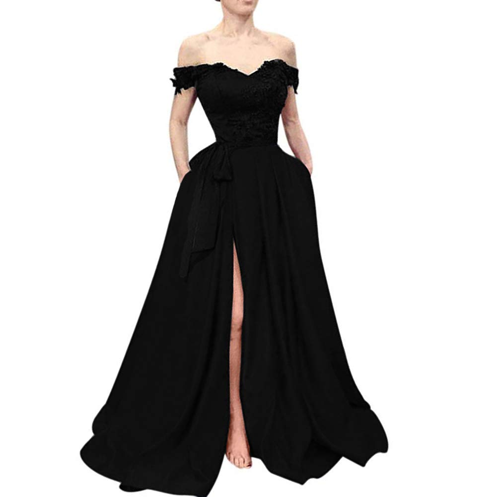 All Black Kivary Beaded Lace Off The Shoulder Black Top Long Front Slit Evening Prom Dress